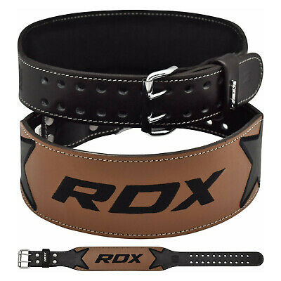 "RDX 4"" Leather Weight Lifting Gym Belt Powerlifting Back Support Training Strap"