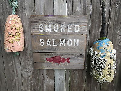 16 Inch Wood Cedar Hand Painted Smoked Salmon Sign Nautical Maritime (#s261)