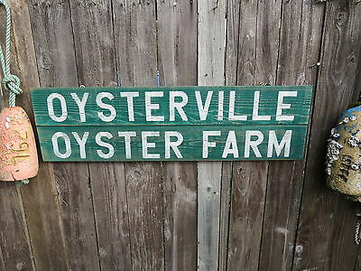 38 Inch Wood Oysterville Oyster Farm Sign Nautical Seafood (#s269)