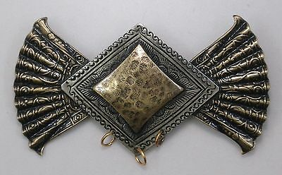 #8256 TWO-TONE ANTIQUED DESIGNER BROOCH W/3 HANG HOLES - 1 Pc Lot