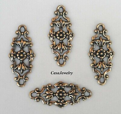 #3498 ANTIQUED GOLD OPEN SCROLL CELTIC BAR COMPONENT 4 Pc Lot