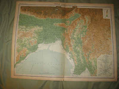 Huge Gorgeous Antique 1922 North Northern East Eastern India Times Atlas Map Nr