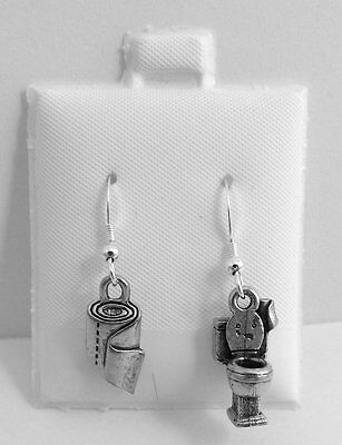 Pewter Toilet & Toilet Paper Charms on St Silver Ear Wire Dangle Earrings-2531