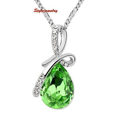 White Gold Plated Made with Swarovski Crystal Teardrop Wedding Necklace N295