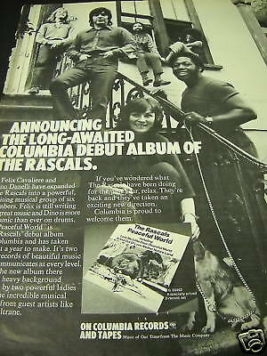 THE RASCALS on the stoop 1971 PROMO AD Peaceful World