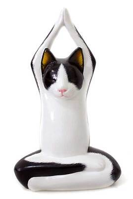 Wood Sculpture Statuette Handmade 'Toward the Sky Yoga Tuxedo Cat' NOVICA Bali