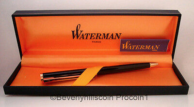 New Waterman Executive Ballpoint Pen Black Laquer Finish Gold Metallic Nib