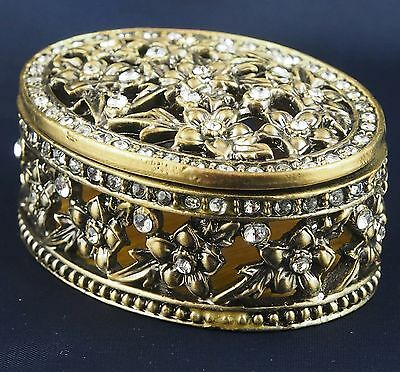 Oval Flower Trinket Box Pewter Jewelled Crystals Gold Toned Lift off lid 6cm New