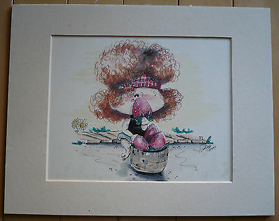 $249 or BEST!! Terry Smith TOT TUNEZ pair of ILLUSTRATIONS watercolor CALIFORNIA