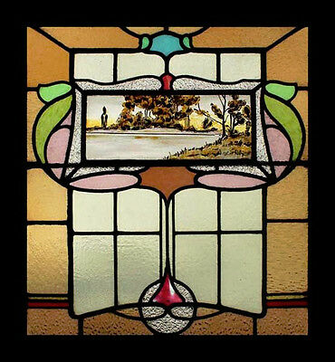Rare Victorian Painted Scenic Beauty Antique English Stained Glass Window