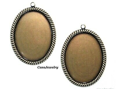 #1414 ANTIQUED GOLD 40x30 BEZEL W/TOP HANG RING - 2 Pc Lot