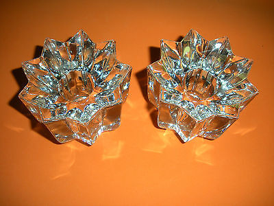 "Pair Of ""Mikasa Candleholders- Crystal, Made In Austria - Excellent Condition"