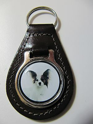 Papillon Dog Key Ring Leather Fob Ideal Gift 9C