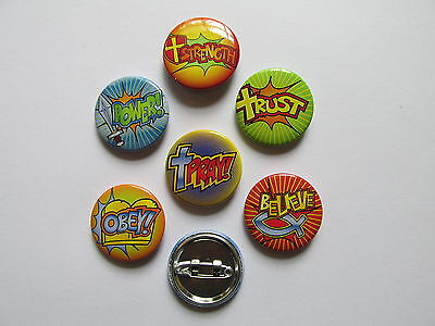 48 RELIGIOUS Faith PINS pray believe strength trust FREE S/H favors buttons pins