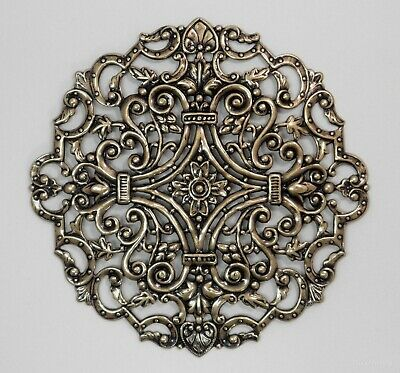#4113 X-LARGE ANTIQUED GOLD ROUND OPEN FILIGREE - 1 Pc Lot