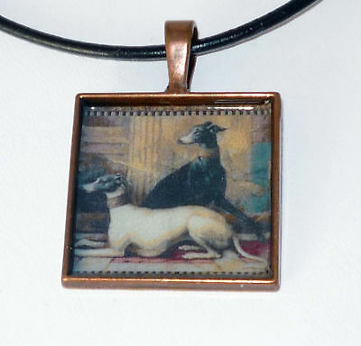 Altered Art Tapestry Greyhound Dogs Copper Pendant, Genuine Leather Necklace