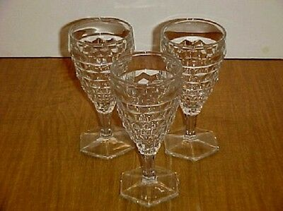 AMERICAN FOSTORIA CRYSTAL HEX FTD. WATER GOBLET SET (3)