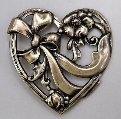 #3342 ANTIQUED GOLD FLORAL + LACE HEART BROOCH - 1 Pc Lot