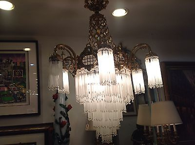 Art Deco Crsystal  And Gold Plated Chandelier