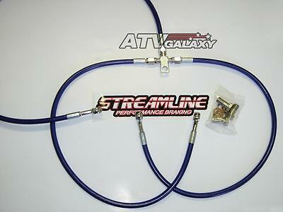 Streamline BLUE Braided Front Brake Lines Yamaha Banshee 350 All Years 02 03 04