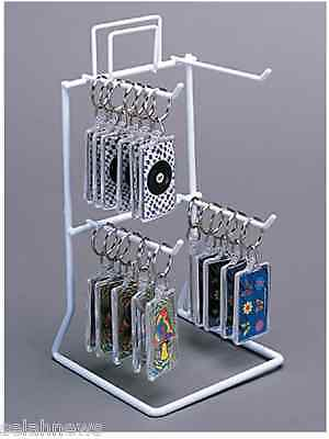 For Sale 4 Peg Hook Counter Key Chain & Small Product Display Rack (White)