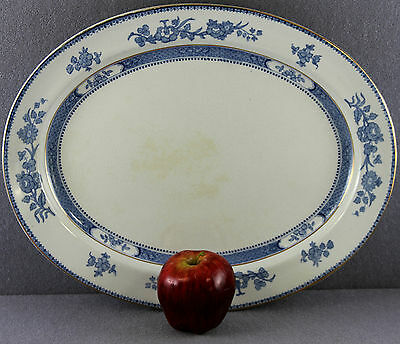 "ESTATE - C1907 BOOTHS SILICON CHINA OVAL SERVING PLATTER 15"" BLUE FLORAL MOTIF"
