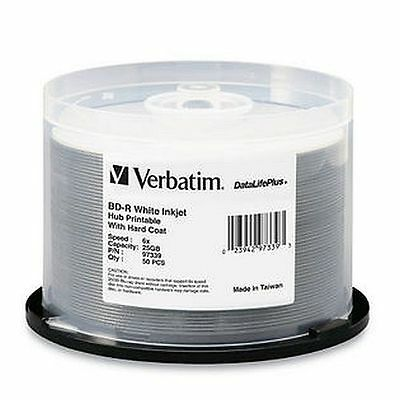 (Free $0 P & H) Verbatim Blu-Ray 6 speed BD-R 25GB wide inkjet 50Pk Pn 97339