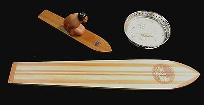 Vintage Hawaii Coaster & Wood Waikiki Surfboard & Surfer Knee Paddler Kahanamoku