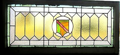 ~ ANTIQUE AMERICAN STAINED GLASS TRANSOM WINDOW ARTS & CRAFTS 23x48 ~ SALVAGE ~