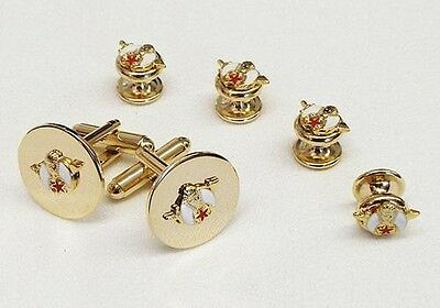 Shriner 3-D White and Red Logo on Polished Gold Tuxedo Studs and Cufflinks Set