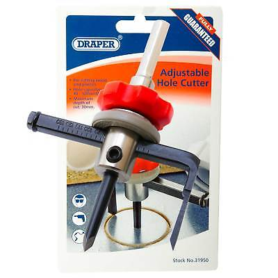 Draper Adjustable Hole Cutter For Wood Or Plastic 40mm-120mm Cutting Tool 31950