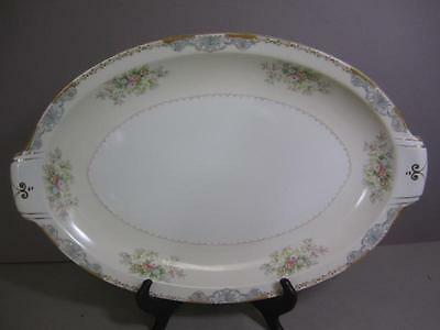 Occupied Japan Crown Ivory Beautiful Floral and Gold Accents Platter kk2
