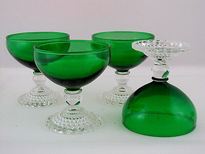 "4 ANCHOR HOCKING FOREST GREEN EARLY AMERICAN SHERBETS, 6 oz, 4"" tall"