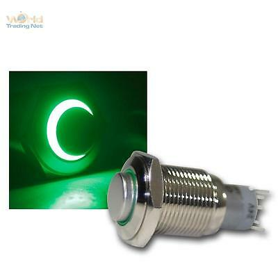 Stainless Steel Pressure Button, Switch, Bell Led Lighted Green