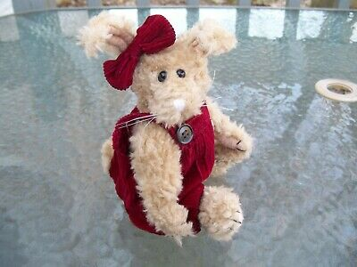 Boyds~1993 Emily Babbit The Rabbit!~Red Corduroy Romper & Bow!~Golden Plush!~