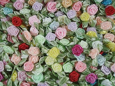 Ribbon Roses Satin Mix with Green Leaves Pack of 100 Floral FREE POSTAGE