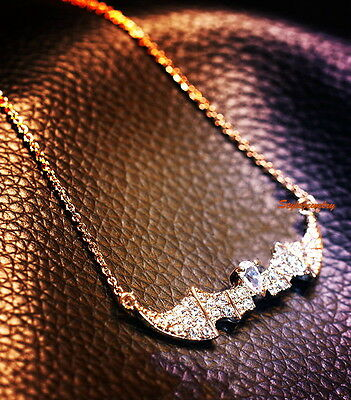 18k Rose Gold Plated Made with Swarovski Crystal Women's Batman Necklace N107