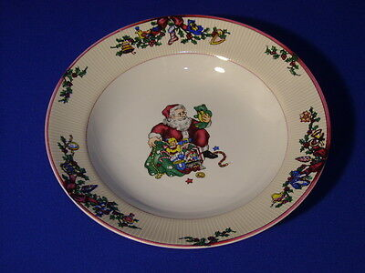 """FITZ AND FLOYD CHINA SANTA'S LIST ROUND SOUP BOWL 9 1/8"""""""
