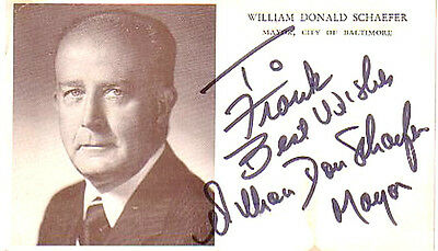 Vintage 1970'S Baltimore Mayor William Donald Schaefer Autographed Picture Good