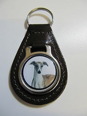 Whippet Dog Key Ring Leather Fob Ideal Gift 12D