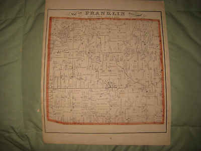 Antique 1874 Franklin Cambridge Township Lenawee County Michigan Handcolored Map