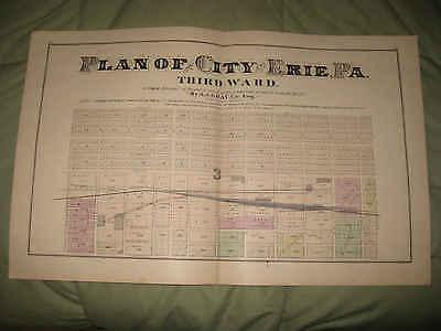 1876 Erie Pennsylvania Antique Handcolored Map Third Ward Fine Superb Nr