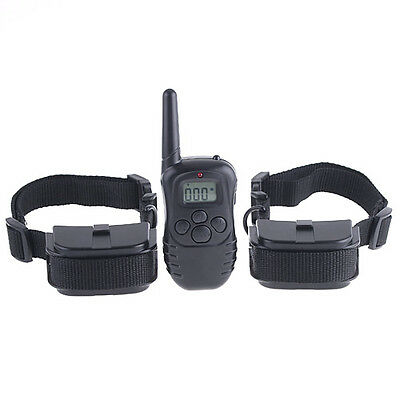 Pet Training System Shock Collar LCD Display 300m Remote Control for 2 Dogs