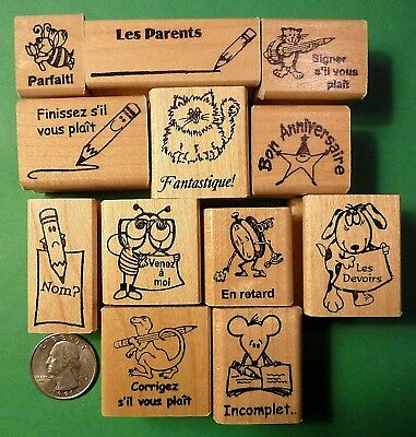 Teacher's French Only Rubber Stamp Asst., Wood Mounted