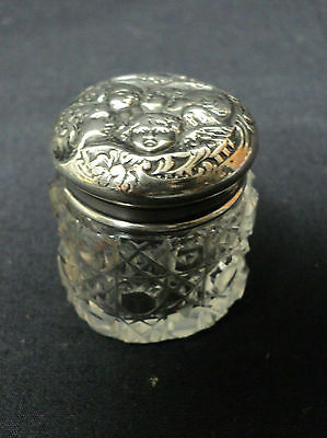 ANTIQUE MINIATURE CUT CRYSTAL DRESSER JAR / BOX, STERLING SILVER LID, c. 1900