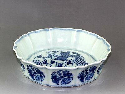BEAUTIFUL BLUE AND WHITE PORCELAIN Ten Edges Brush Washer