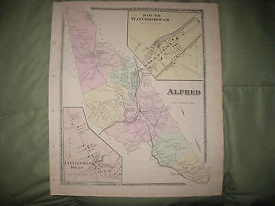 Antique 1872 Alfred Shaker Village Waterboro York County Maine Handcolored Map N