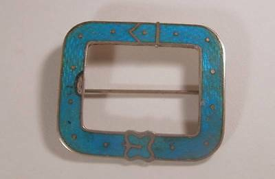 Antique Art Nouveau French Blue Guilloche Sterling Edwardian Sash Pin Brooch