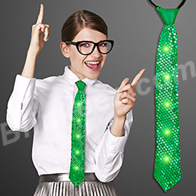 ST PATTYS DAY GREEN Sequin Light Up Neckties with JADE Flashing LEDs