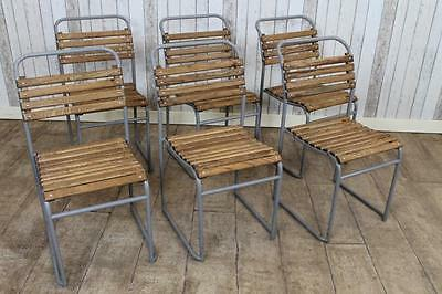 Original Vintage Stacking Chairs With Slatted Seats Large Quantity Available